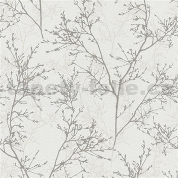 Vliesové tapety na zeď Instawalls větvičky šedo-bílé