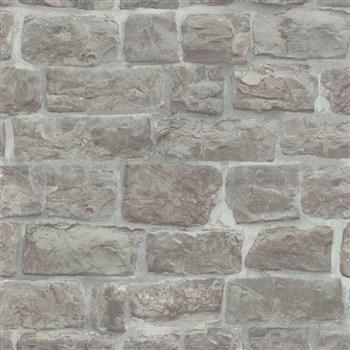 Vliesové tapety na zeď Eyecatcher kamenná zeď hnědo-šedá