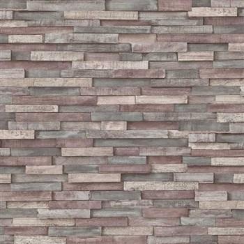 Vliesové tapety na zeď Imitations dřevěný obklad šedo-hnědý