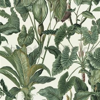 Vliesové tapety na zeď Natural Living zelené kaly s listy