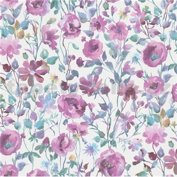 Vliesové tapety na zeď Natural Living vlčí máky fialovo-modré