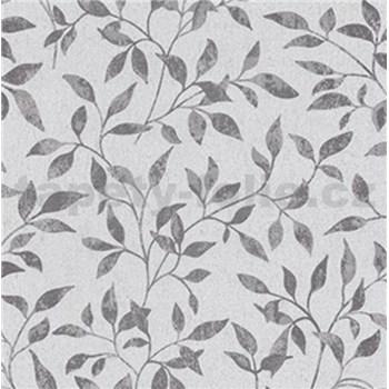 Vliesové tapety na zeď Classic lístky šedé na textilním podkladu