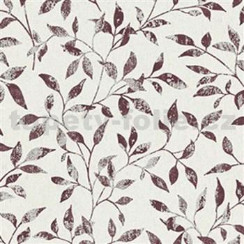 Vliesové tapety Classic lístky hnědo-červené se stříbnrými odlesky na světlém textilním podkladu