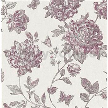 Vliesové tapety na zeď Classic květy vínově červené na textilním podkladu