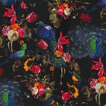 Vliesové tapety na zeď Instawalls ptáci s barevnými květy na černém podkladu