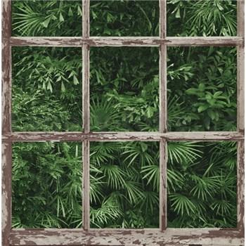 Vliesové tapety na zeď Instawalls palmové listy za oknem