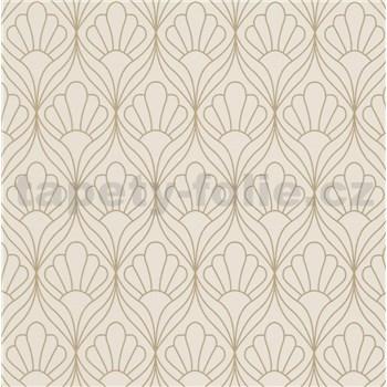 Vliesové tapety na zeď Graphics & Basics kontury květin zlaté na krémovém podkladu
