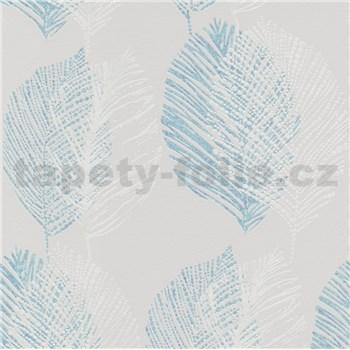 Vliesové tapety na zeď Scandinja listy modré na šedém podkladu