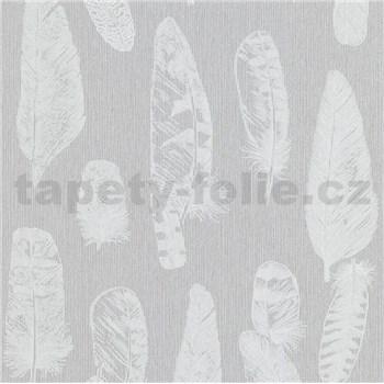 Vliesové tapety na zeď Scandinja peří světle šedé na šedém podkladu