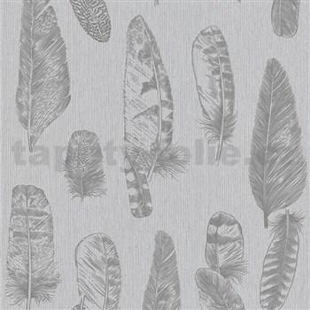 Vliesové tapety na zeď Scandinja peří šedé na šedém podkladu