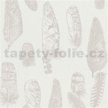 Vliesové tapety na zeď Scandinja peří hnědé na krémovém podkladu