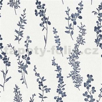 Vliesové tapety na zeď Natural Living florální vzor tmavě modrý s třpytem