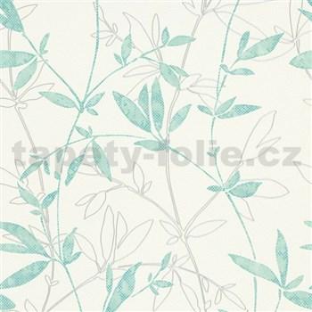 Vliesové tapety na zeď Natural Living popínavé větvičky s lístky aqua - POSLEDNÍ KUSY