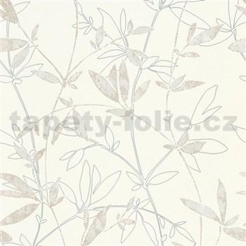 Vliesové tapety na zeď Natural Living popínavé větvičky s lístky hnědo-šedé