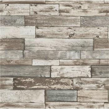Papírové tapety na zeď Imitations dřevěný obklad hnědo-šedý