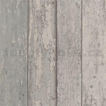 Papírové tapety na zeď dřevěné desky šedé