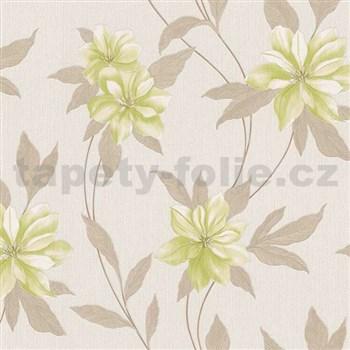 Vinylové tapety na zeď Spring květy zelené s hnědými stonky a lístky