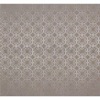 Vliesové tapety na zeď Estelle vzor stříbrný na hnědém podkladu
