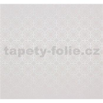 Vliesové tapety na zeď Estelle vzor stříbrný na bílém podkladu