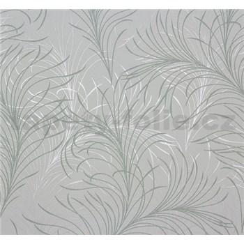 Vliesové tapety na zeď Estelle listy zeleno-stříbrné na světle zeleném podkladu