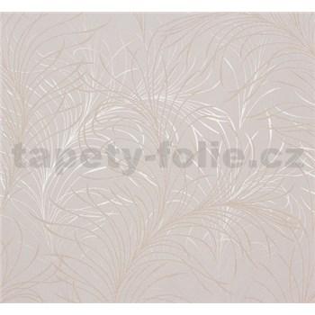Vliesové tapety na zeď Estelle listy zlaté na krémovém podkladu