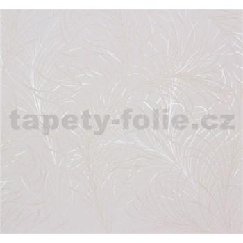 Vliesové tapety na zeď Estelle listy zlato-stříbrné na bílém podkladu