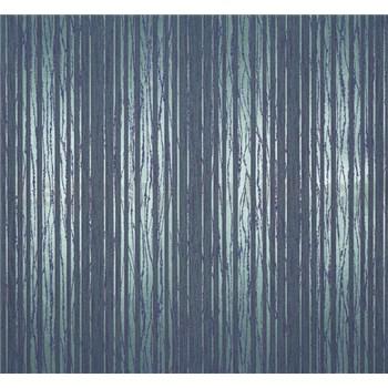 Vliesové tapety na zeď Estelle pruhy metalické zeleno-modré