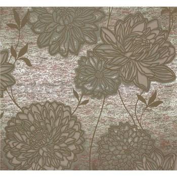 Vliesové tapety na zeď Estelle květy olivově zelené