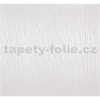 Vliesové tapety na zeď Estelle vlnky bílé na metalickém podkladu