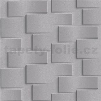 Vliesové tapety na zeď Exposure 3D metalický obklad tmavě šedý
