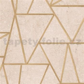 Vliesové tapety na zeď Exposure vápencové obklady hnědé s zlatými švy