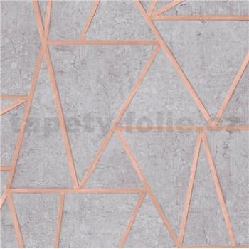 Vliesové tapety na zeď Exposure vápencové obklady šedé s měděnými švy
