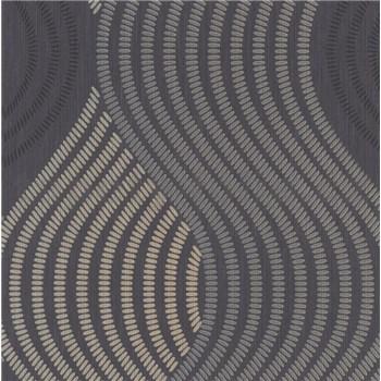 Vliesové tapety na zeď G.M.K. Fashion for walls vlnovky zlato-šedé na černém podkladu