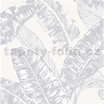 Vliesové tapety na zeď Felicita listy šedé na krémovém podkladu