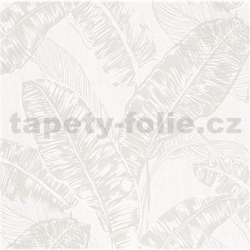 Vliesové tapety na zeď Felicita listy světle hnědé na světle šedém podkladu