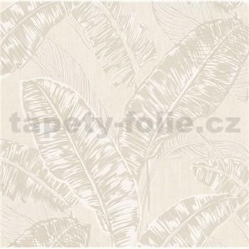 Vliesové tapety na zeď Felicita listy světle hnědé na krémovém podkladu