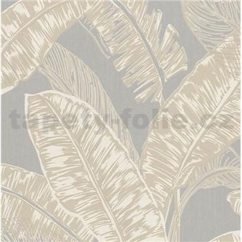 Vliesové tapety na zeď Felicita listy béžové na šedém podkladu