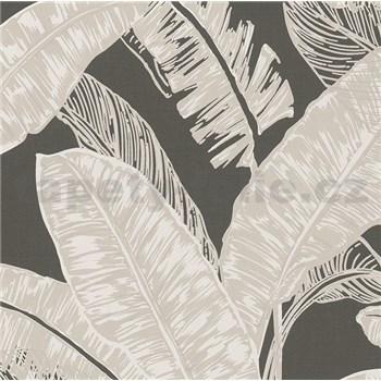 Vliesové tapety na zeď Felicita listy světle hnědé na tmavě hnědém podkladu