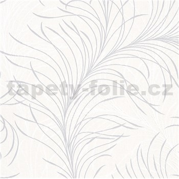 Vliesové tapety na zeď Felicita jemné listy bílo-šedé na krémovém podkladu