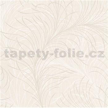 Vliesové tapety na zeď Felicita jemné listy bílo-krémové na krémovém podkladu