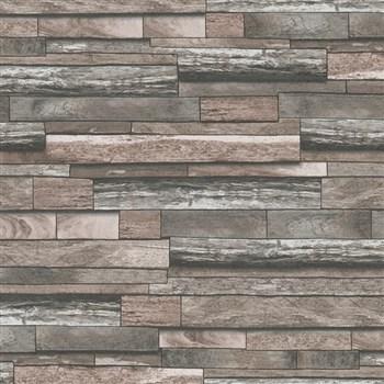 Vliesové tapety na zeď Felicita dřevěný obklad s 3D efektem červeno-hnědé