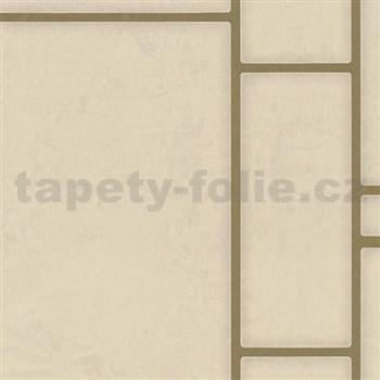 Vliesové tapety na zeď Felicita obdélníky béžové se zlatým ohraničením