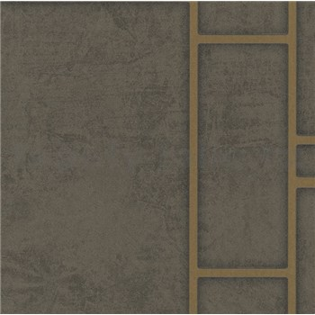Vliesové tapety na zeď Felicita obdélníky tmavě hnědé se zlatým ohraničením
