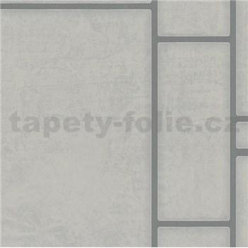 Vliesové tapety na zeď Felicita obdélníky šedé se stříbrným ohraničením