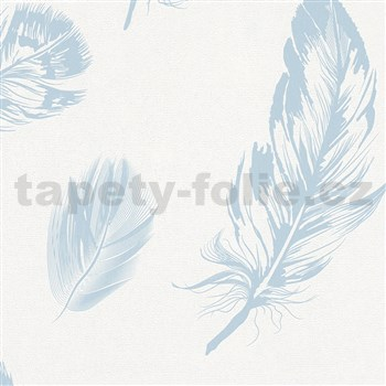 Vliesové tapety na zeď Felicita peří modré na bílém podkladu