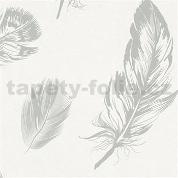 Vliesové tapety na zeď Felicita peří světle šedé na bílém podkladu