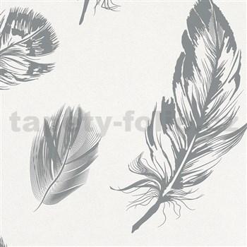 Vliesové tapety na zeď Felicita peří šedé na bílém podkladu