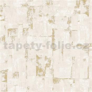 Vliesové tapety na zeď IMPOL Finesse stěrkovaná omítkovina hnědá se zlatými odlesky