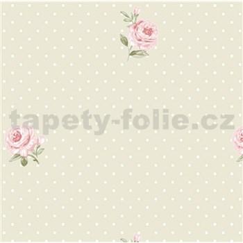 Vliesové tapety na zeď LITTLE FLORALS růže na krémovém podkladu s puntíky