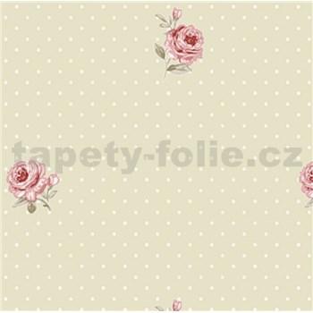 Vliesové tapety na zeď LITTLE FLORALS růže na hnědém podkladu s puntíky